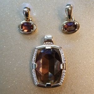 Jewelry - Faux Gem Gold tone Slider and Earrings